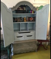 Ornate Gray Chalk-Paint Armoire - $475