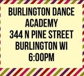All 6:00pm Location Burlington Dance Academy