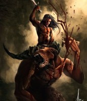 Theseus defeats the Minotaur
