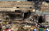 A Hole in the Pentagon After a Plane had Crashed into it.