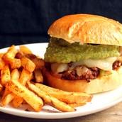 Spicy hamburger and fries