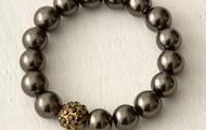 Soiree Pearl Pave Bracelet-Brown