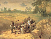 A African family reaching Canada (drawing)