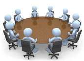 Participants meet together with members of the Administration Team