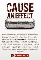 All family and friends are invited to eat at Chipotle and help earn money for choir!