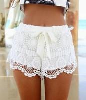 Blanco Pantalones Cortos Con Encaje