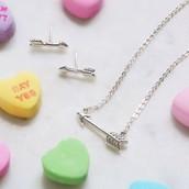 Cupid's Arrow Pendant Necklace & Earrings