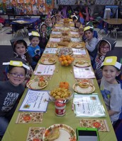 Kindergarten Pilgrims enjoying a Thanksgiving Feast in Mrs. Lohman's class.