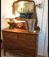 Antique Oak 4-Drawer Dresser with Mirror - $475
