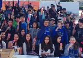 Students celebrate with ice cream in hand
