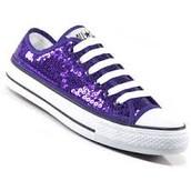 Purple Glitter Converse Shoe