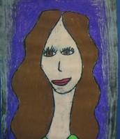 Student oil pastel self portrait