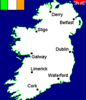 This is  a major cities map of ireland