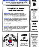 Rachel's Challenge 5k Flyer