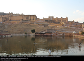 There's a pool in front of the Amer fort