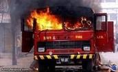 Fire truck on fire.