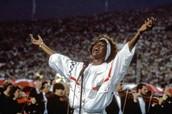 Whitney Houston at Super Bowl XXV singing the nation athem