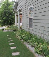 Walkway to backyard gate - Iris flower bed