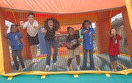 Hopping around in three different jumping castles!