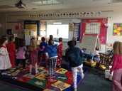 Using GoNoodle to strech out a little!
