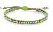 SOLD!! WANDERLUST SINGLE WRAP BRACELET -- SILVER AND GREEN