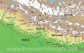 Physical Map Of Nepal