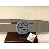 suede gucci belt with interlock G buckle