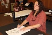 Ms. Russo Draws Student Portraits
