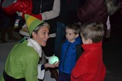 Our Goshen elf sharing the magic snowball.