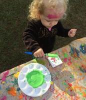 Sophia splattered herself too!