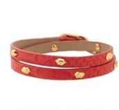 Hudson Leather Wrap Bracelet - Red