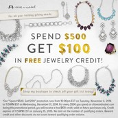 Receive $100 in jewelry credit when you spend $500 cumulatively from 11/5 - 12/31/14