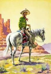 American Cowboys adopted much from the Mexican Vaquero's. They adopted their clothes gear and even their language.