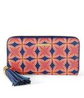 Mercer Zip Wallet Navy/Red Medallion