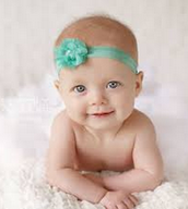 Baby Girl with Mint Green Headband