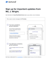 Instructions for signing up for Remind