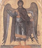 Arcangelo che pesa le anime e abbatte il demonio, fine XIII secolo,  tempera su tavola, Museo del San Matteo