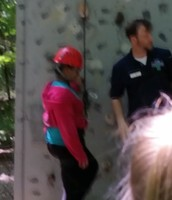 Paris is ready to climb the rock wall!