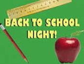 Back to School Night Sept. 26th