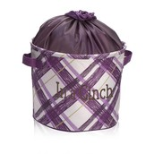 Cinch-Top Bin - Plum Plaid