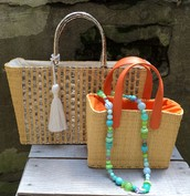STRAW AND LEATHER HANDBAGS FROM CARAVAN SERAIL