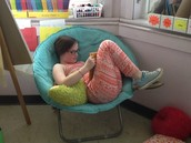 """Megan was our """"cozy reader"""" this week!"""