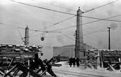 Оборонительные укрепления у Бородинского моста в Москве. 1941 г