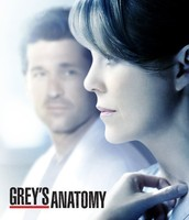 Meredith looking forward with Derek looking from a distance and words written on bottom