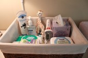 Supplies for changing diapers