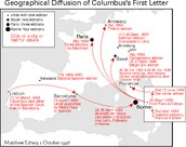 "In the map ""Geographical Diffusion of Columbus's First Letter"", it shows.."