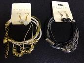 Multi Strand Bracelet and Earring Sets