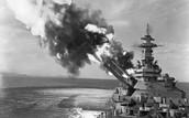 A BattleShip Bombards The Shore!
