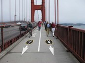 Walkers and bike riders on the golden gate bridge
