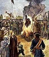 Slave accused of arson and burned at the stake